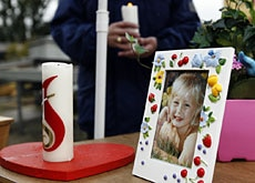 A photograph of five-year-old Ylenia, whose funeral was held on Wednesday