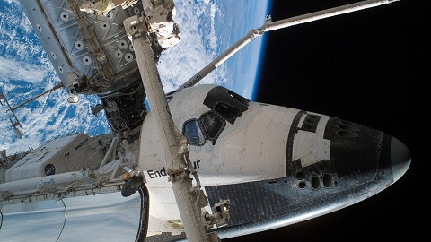 The Space Shuttle Endeavour docks with the International Space Station