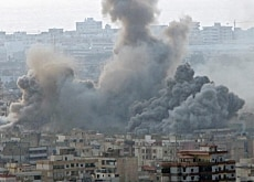 Smoke rises over southern Beirut after an Israeli air raid