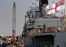 Foreigners boarded ships like this British vessel to get out of Lebanon