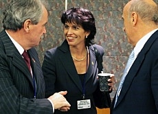 The Swiss delegation (from left to right): Jean-Pierre Roth, president of the Swiss National Bank and ministers Doris Leuthard and Hans-Rudolf Merz
