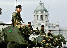 The army deployed tanks outside the parliament building in Bangkok