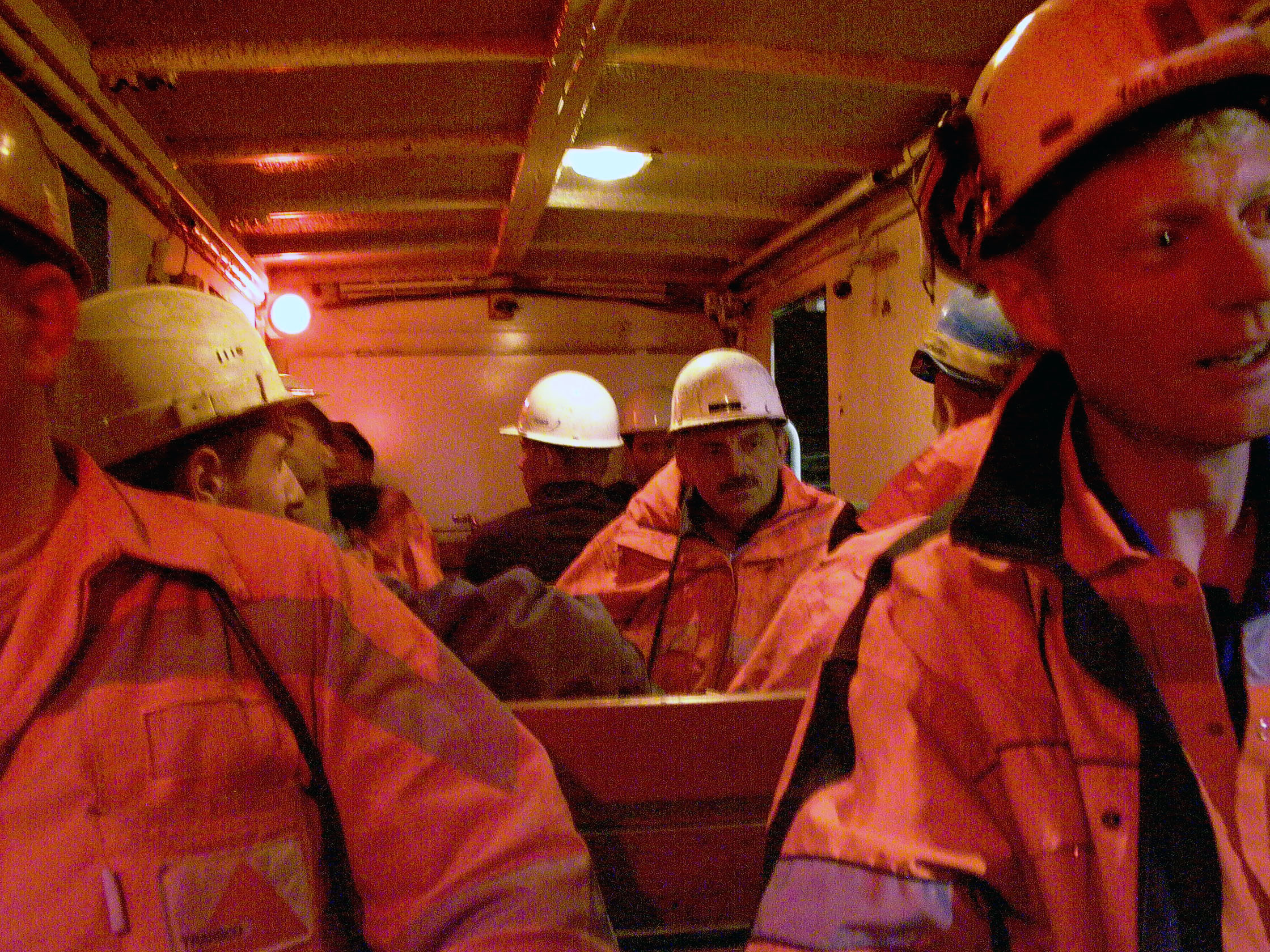 The trip through the one-km-long access tunnel brings the workers up to daylight near Sedrun.
