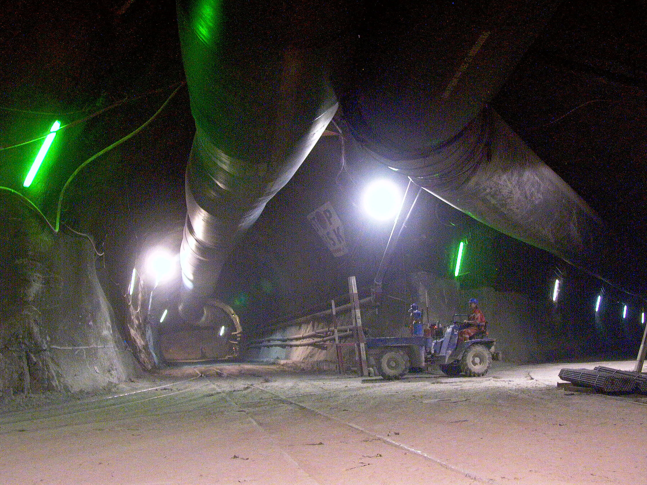 Ventilation tubes at the contruction site in Sedrun, 800 metres deep inside the Gotthard massif.