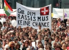 A demonstration in 1994 ahead of a vote on the anti-racism law