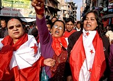 A victory rally in Kathmandu celebrating the end of a bloody ten-year communist insurgency