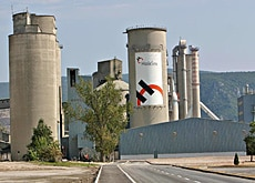 Swiss company Holcim operates this cement factory in Serbia