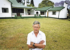 Professor Lüthy in front of an HIV/Aids clinic in Harare, Zimbabwe