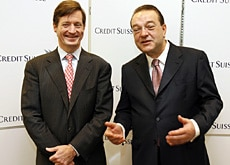 German Oswald Grübel and Amercan Brady Dougan of Credit Suisse: two of Switzerland's top managers