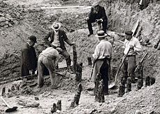 Archaeologists unearth the wooden remains of an Iron Age bridge at La Tène in 1907 (latenium.ch)