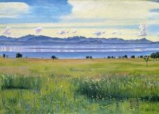 Hodler's idyllic 1901 view of Lake Geneva and the French Alps from a St-Prex meadow - now somebody's back garden