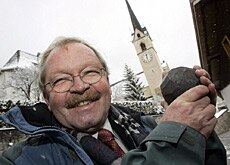 Peter Martin Wettler, the new Prince of Belfort, poses with a specially-made orb, symbol of the village's unity