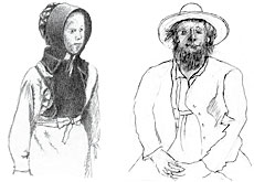The Amish do not allow themselves to be photographed (Sketch: Eugen Bachmann-Geiser)