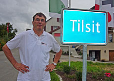 Otto Wartmann shows off his new Tilsit sign