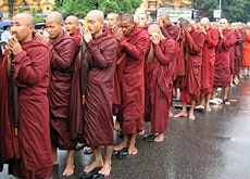 Buddhist monks lead the peaceful protest against Myanmar's military regime