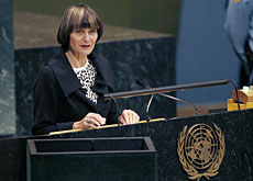 Lots done, lots to do: Swiss President Micheline Calmy-Rey addressing the UN's 62nd General Assembly