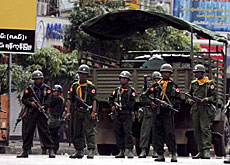 Troops during a demonstration in Yangon on Thursday