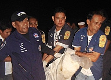 Thai rescuers carry one of six bodies of Western tourists retrieved from Khao Sok National Park