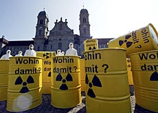 Greenpeace activists protesting against a nuclear storage facility in April 2003