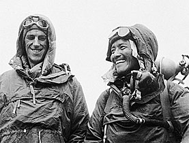Edmund Hillary and Tenzing Norgay at the British Embassy in Kathmandu, capital of Nepal, wearing their Everest kit