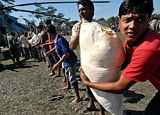 Bangladeshi villagers unload a helicopter with relief goods
