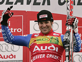 Swiss skier Daniel Albrecht on the podium after his World Cup super-combi win