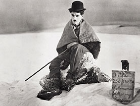Charlie Chaplin stranded in Alaska in a still from his 1925 film, The Gold Rush