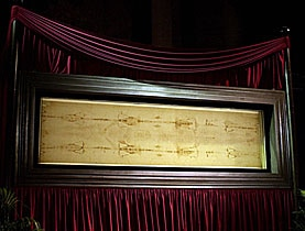 The Holy Shroud as displayed at the Cathedral of Turin in 2000