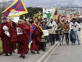 Pro Tibetan activists march on Geneva last month