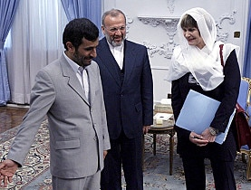 Foreign Minister Micheline Calmy-Rey's decision to meet Iranian President Mahmoud Ahmadinejad (left) sparked controversy