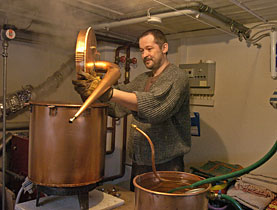 Absinthe distiller Claude-Alain Bugnon exports a quarter of his annual production to the US