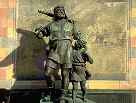 This statue of William Tell and his son, Walter, is now iconic