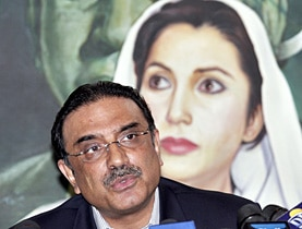 Zardari at a news conference in Karachi in January following the assassination of his wife Benazir Bhutto