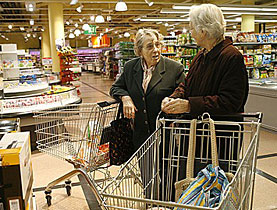 Will financial turbulence affect the pensioner's shopping basket?