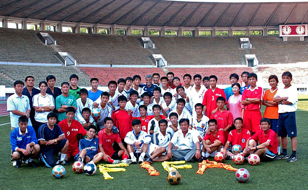 Andy Egli (back, centre) surrounded by North Korean stars of the future in Pyongyang