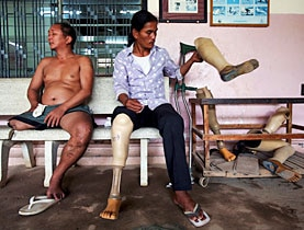 Cambodian landmine victims at a rehabilitation centre in Phnom Penh