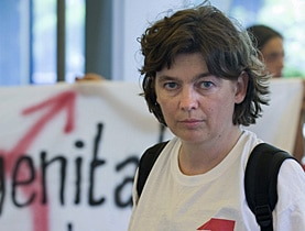 Daniela Truffer protesting outside Bern University Hospital