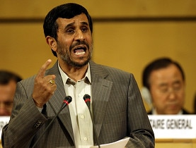 "Mahmoud Ahmadinejad accused Israel of being the ""most cruel and racist regime"" in front of UN Secretary-General Ban Ki-moon"