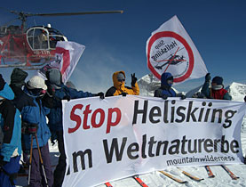Some 100 people scaled the 3,200-metre Petersgrat peak near the Aletsch glacier to protest against heliskiing