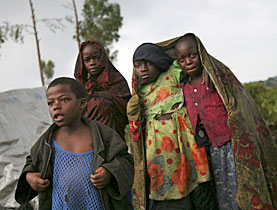 Many children are among those displaced by fighting in the Congo