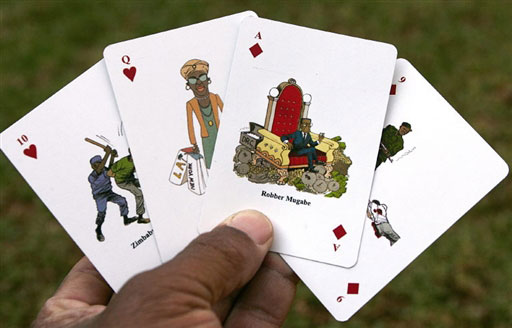 A set of Zimbabwean playing cards depicts Mugabe as the ace of diamonds