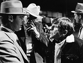 Jack Nicholson, John Huston and Roman Polanski (left to right) working on the set of Chinatown