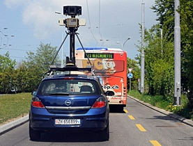 Picture this: a Google Street View car on the streets of Lausanne