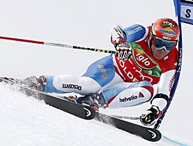 Didier Cuche on his way to clocking his fastest time during the first run at Sölden