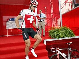 Fabian Cancellara vor dem Strassenrennen an der WM in Mendrisio, in dem er als 5. die Medaillen knapp verpasste.