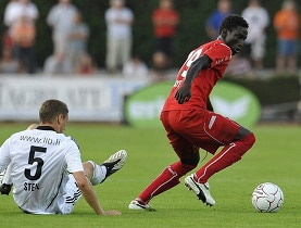 Omar Faye (right) wins a duel in this match earlier this year again Vaduz
