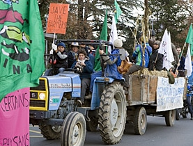 Farmers protesting against the WTO in Geneva on Tuesday
