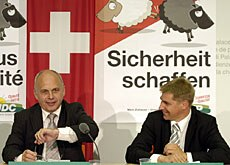 "People's Party President Maurer (left) hails the ""black sheep"" campaign as a great success"
