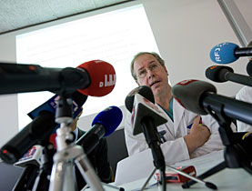 Heart surgeon Thierry Carrel speaks to the media about Merz's condition