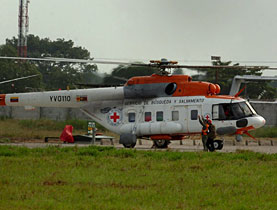 Two helicopters with the emblem of the ICRC were involved in delivering the hostages to safety
